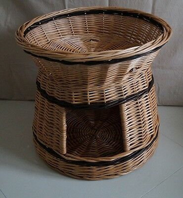 Wicker saule rond 2 paniers superposés couche lit pour animal chat chaton