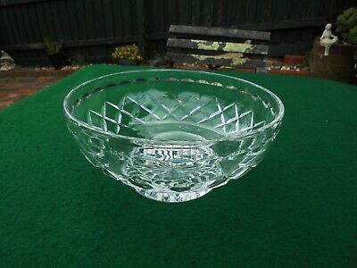 Vintage Hand Cut English Stuart Crystal Double Diamond Footed Bowl Like New