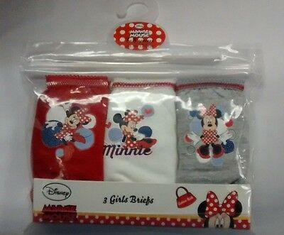 Minnie Mouse Disney 3 Pack Girl Pants Briefs New