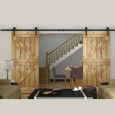 12FT Arrow style Black Double Sliding Barn Wood Closet Door Track Hardware set
