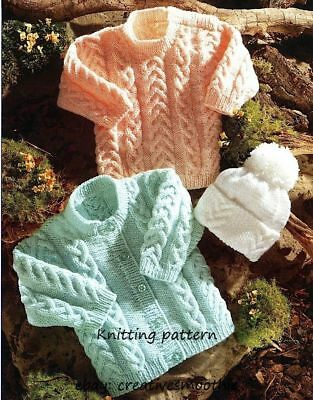 (14) DK Knitting Pattern for Baby Child Cable Cardigan, Sweater & Hat, 16-24''