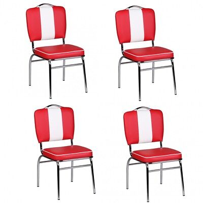 4 piece Dining chair Set American Diner 50s Retro Red And White armchair NEW