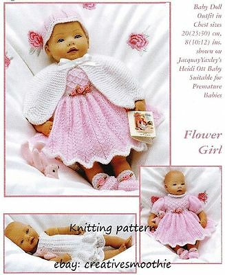 (15) Knitting Pattern for Baby Doll Outfit, also fits Premature Baby, in 3 sizes