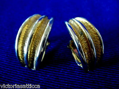 Collectible Vintage Shiny Gold Tone Clip-On Earrings - Estate Jewelry