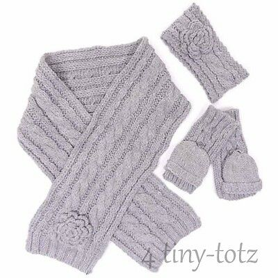 Girls Minx Grey Cable Knit Design Headwarmer, Scarf and Gloves 2-5 6-10 Years