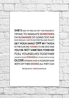 The Courteeners - Not Nineteen Forever - Song Lyric Art Poster - A4 Size