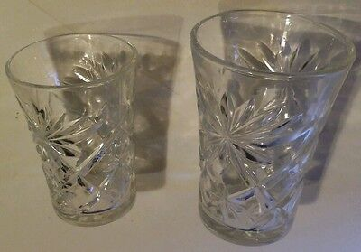 """Matching pair Antique Clear Glass Drinking Cups Ornate 3-5"""" Embossed Juice Cup"""