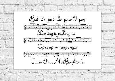 The Killers - Mr.Brightside - Song Sheet Art Poster - A4 Size
