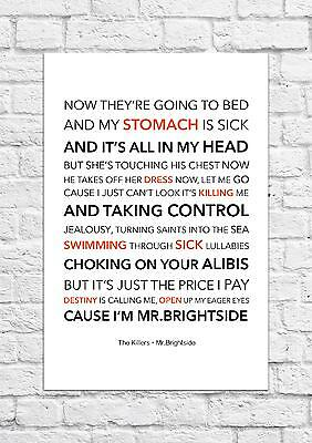 The Killers - Mr.Brightside - Song Lyric Art Poster - A4 Size