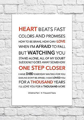 Christina Perri - A Thousand Years - Song Lyric Art Poster - A4 Size