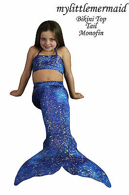 Uk Swimmable Mermaid Tail Fin & Bikini Top With Real Monofin