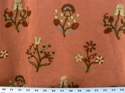 Drapery Upholstery Fabric Crewel Embroidered Fl Cinnamon