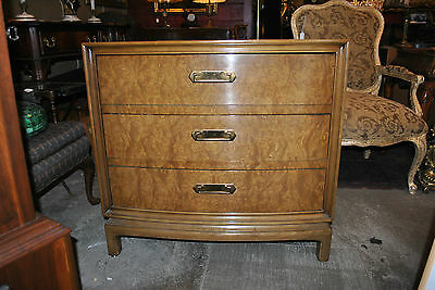 Mid-Century  Three Drawer Burled Wood Chest, Asian Influence