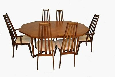 Danish Modern Dining Table with Six (6) Koefoed Style Tall Back Chairs
