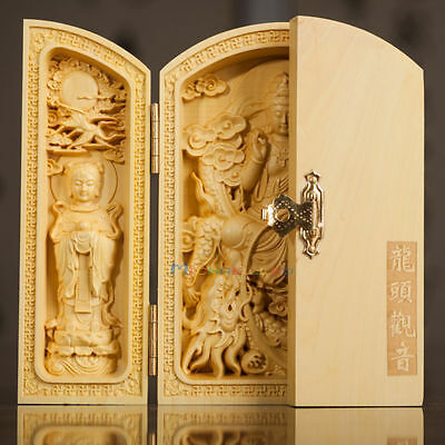 Exquisite Boxwood Handwork Carved Kwan-yin Statue Chinese Calligraphy Box a