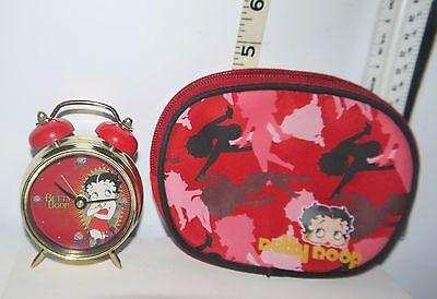Betty Boop 2007 Twin Bell Battery Operated Red & Gold Alarm Clock w/Red Bag
