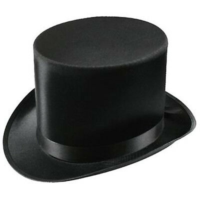 Black Lincoln Top Hat Satin Costume Victorian Gentleman Ring Master Magician
