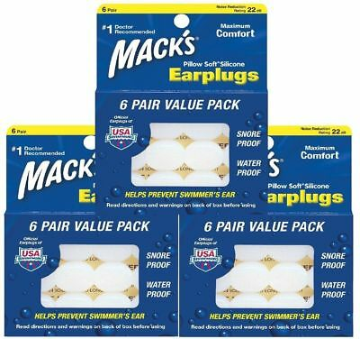 Macks Pillow soft Moldable Silicone Earplugs 3 Packs Of 6 Pairs 18 Pairs