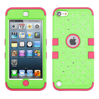 Apple iPod Touch 5th 6th Gen Hybrid ShockProof Hard Case Cover +Hook Lace Flower
