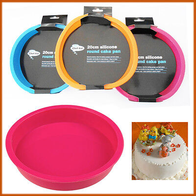 CHEF AID Silicone Cake Pan Tray Mould Home Bakeware 20CM Round Non Stick Bake