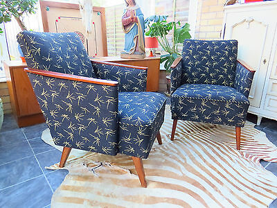 A Pair Of Vintage East German Lounge Armchairs C1960 Original Condition