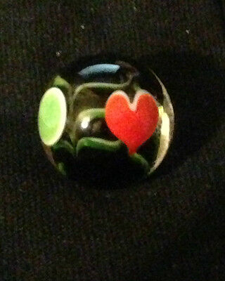 HOM Glass Marbles collectable 16mm Beautiful Handmade marble - Valentine Heart