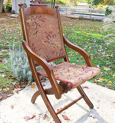 Antique Solid Chestnut All Original Carpet Chair As-Is