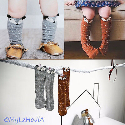 New baby/Children Girls Fox Pattern Socks Soft Cotton Knee High Hosiery Fashion