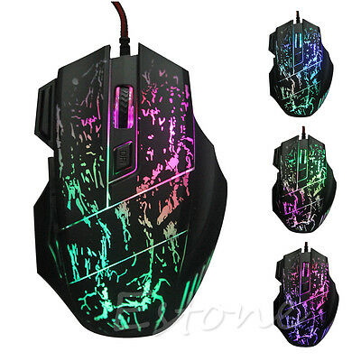 Hot! 5500 DPI 7 Buttons LED Optical USB Wired Gaming Mouse Mice For Pro Gamer