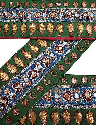 Vintage Sari Border Antique Hand Beaded Indian Trim Craft Ribbon Green 1YD Lace