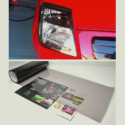 "Gloss Light Smoke Vinyl Film Tint 12""x39"" Headlight Taillight Fog Wrap Cover HQ"