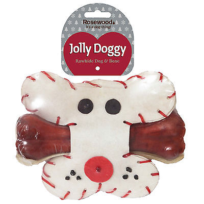 Rosewood Christmas Rawhide Dog & Bone RW38621
