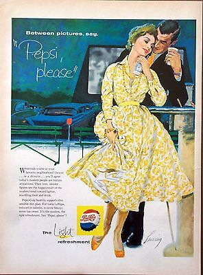1958 Pepsi Cola Couple Drive In Movie Between Pictures Robert Levering ad