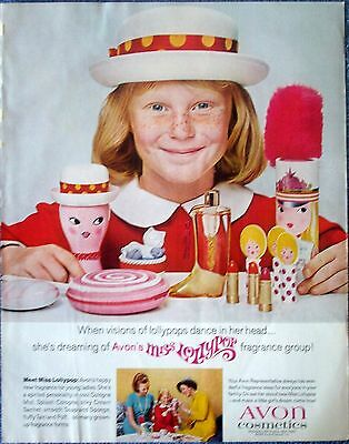 1967 Avon Cosmetics Miss Lollypop Young Girl New Fragrance Red Dress ad