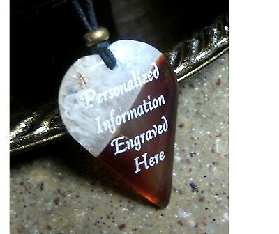 PERSONALIZED Orange Agate Heart Pendant Necklace 45x30mm - Laser Engraved