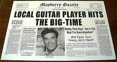 MAYBERRY GAZETTE -- JIM LINDSEY front page cover JAMES BEST - Andy Griffith Show