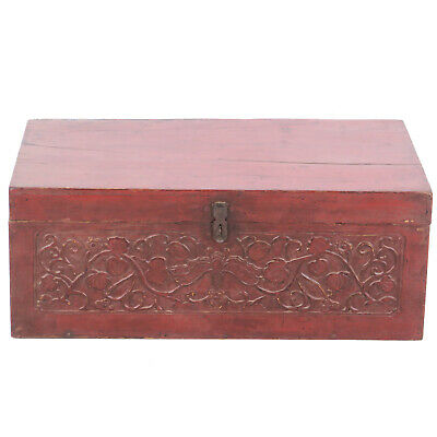 "Antique Chinese Asian Red Trunk w Beautuful Relief Carved Front, 31"" Wide"