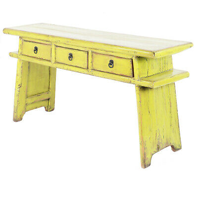 Chinese 65″ Long 3 Drawer Asian Country Style Console Table Antique Pine Green
