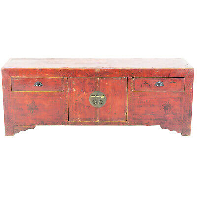 "Antique Asian Chinese 60"" L 21-1/2"" T Red Kang Cabinet  w hand drawn ink designs"