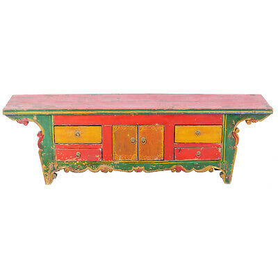 """Antique Asian Chinese 63″ W  13"""" T Colorful Low Kang Table Cabinet w Carvings"""