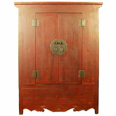 "Antique Chinese Asian Large 58"" W 82"" T Armoire Wardrobe Wedding Cabinet"