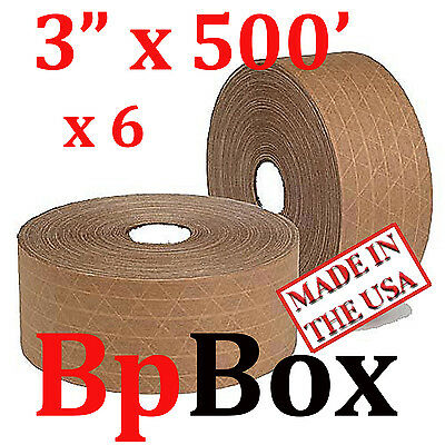 """6 ROLLS SEALING Reinforced water activated TAPE TAN KRAFT 3"""" X 500' *PICKUP ONLY"""
