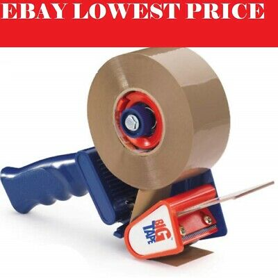 Tape Gun Dispenser +8 Huge Rolls Of Brown Buff 48mm x 66m Parcel Packing Tape