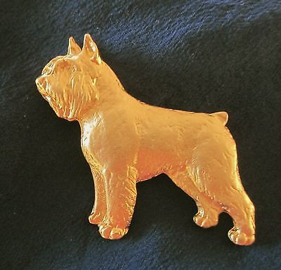 Chema Sotoca 24K Gold Plate Dog Brooch Pin NEW Bouvier des Flandres Cropped Ears