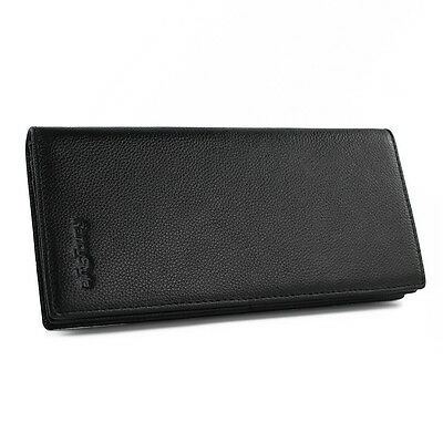 FancyStyle Mens NFC RFID Blocking Wallet Long Bifold Genuine Leather Black Brown