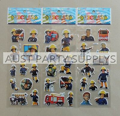 Fireman Sam Puffy Sticker Party Loot Lolly Bag Treat Box Filler Gift Favors