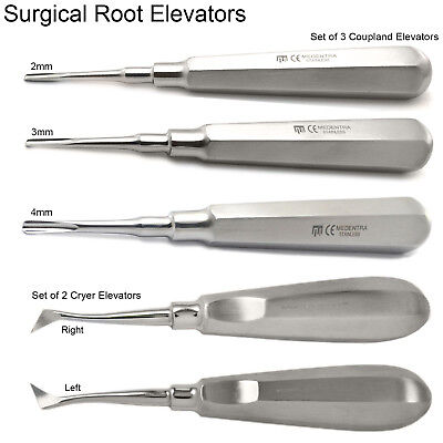 Dental Tooth Root Elevators Coupland Chisels Surgical Cryer Elevator Set X5 New