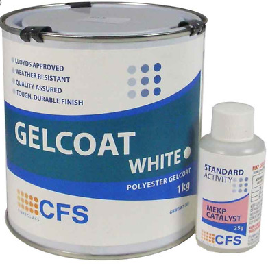 1kg Marine Polyester gloss white Gelcoat inc 25g Catalyst *ideal for repairs