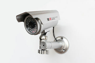 Dummy Security Camera - SOLAR POWERED - Red LED Light  - Silver