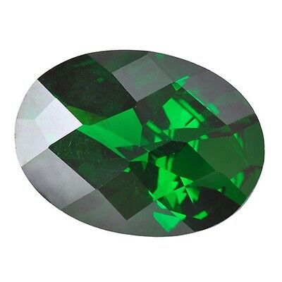 Hydrothermal Lab Created Emerald Green Oval Checkerboard Loose stone (6x4-18x13)